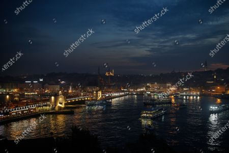 View of Istanbul's skyline with the Galata Bridge over the Golden Horn