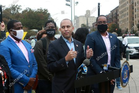 (L-R) New York State Senator Senator Zellnor Y. Myrie, New York State Senator Kevin Parker, U.S. Congress Member Yvette Clarke, New York State Attorney General Leticia James, New York State Assembly Member Diana C. Richardson and U.S. Congress Member Hakeem Jefferies hold press conference as Early Voting opens in New York City with anticipated large crowds waiting in lines for sometimes two or more hours to cast their votes at the Brooklyn Museum on October 24, 2020 in Brooklyn, New York