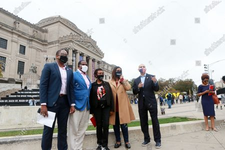 Stock Image of  (L-R) New York State Senator Senator Zellnor Y. Myrie, New York State Senator Kevin Parker, U.S. Congress Member Yvette Clarke, New York State Attorney General Leticia James  and U.S. Congress Member Hakeem Jefferies hold press conference as Early Voting opens in New York City with anticipated large crowds waiting in lines for sometimes two or more hours to cast their votes at the Brooklyn Museum on October 24, 2020 in Brooklyn, New York