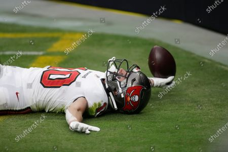 Tampa Bay Buccaneers wide receiver Scott Miller (10) celebrates after scoring a touchdown against the Las Vegas Raiders during the first half of an NFL football game, in Las Vegas