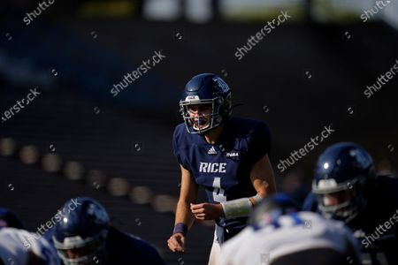 Rice University quarterback Mike Collins (4) awaits the snap during an NCAA football game against Middle Tennessee on in Houston