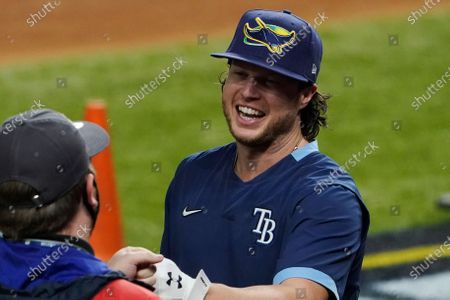 Tampa Bay Rays right fielder Brett Phillips arrives for batting practice before Game 5 of the baseball World Series against the Los Angeles Dodgers, in Arlington, Texas