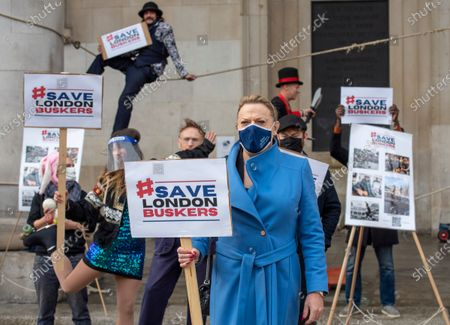 Eddie Izzard joins a large gathering of street performers in aid of a campaign that Westminster council are doing to try and make it harder to busk, On November 3rd, WestMinster votes on passing their draconian busker crackdown into law.