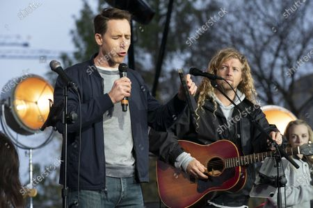 Sen. Josh Hawley, R-Mo., left along with christian musician Sean Feucht of California, during a rally at the National Mall in Washington