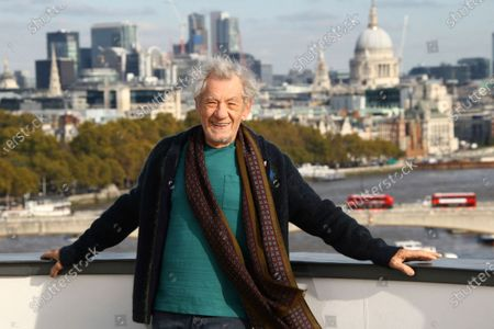 """Stock Image of Actor Sir Ian McKellen poses for photographers at a photocall for the film """"The Good Liar""""at a central London hotel. McKellen and Andrew Scott were among acting winners as Britain's Laurence Olivier Awards celebrated the best of the London stage in bittersweet fashion Sunday night, Oct. 25, 2020 - most U.K. theaters remain closed because of the coronavirus pandemic"""