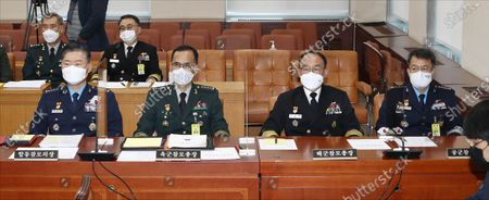 Top military leaders (L-R) Joint Chief of Staff Chairman Gen. Won In-choul,  Army Chief of Staff Gen. Nam Yeong-shin, Chief of Naval Operations Adm. Boo Suk-jong and Air Force Chief of Staff Gen. Lee Seong-yong attend a parliamentary inspection at the National Assembly in Seoul, South Korea, 26 October 2020.