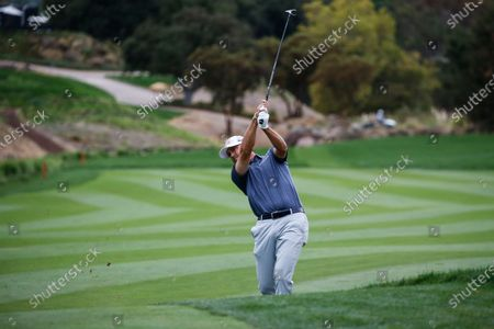 Ryan Palmer hits on the 16th fairway during the final round of the Zozo Championship golf tournament, in Thousand Oaks, Calif