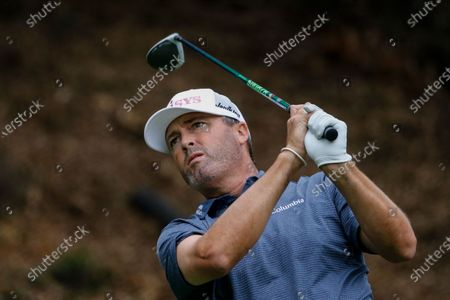 Ryan Palmer hits from the 18th tee during the final round of the Zozo Championship golf tournament, in Thousand Oaks, Calif