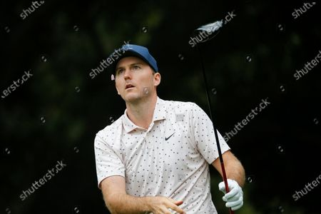 Stock Picture of Russell Henley hits from the second tee during the final round of the Zozo Championship golf tournament, in Thousand Oaks, Calif