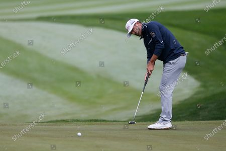 Ryan Palmer putts on the first hole during the final round of the Zozo Championship golf tournament, in Thousand Oaks, Calif