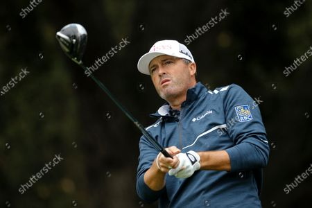 Stock Picture of Ryan Palmer hits from the second tee during the final round of the Zozo Championship golf tournament, in Thousand Oaks, Calif