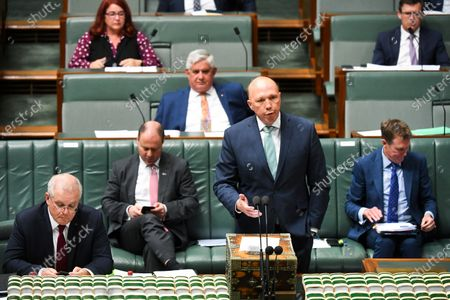 Australian Home Affairs Minister Peter Dutton speaks during the House of Representatives Question Time at Parliament House in Canberra, Australia, 26 October 2020.