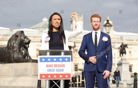 Ahead of the most controversial US Presidential Election ever, bookmaker Ladbrokes launches its 'Making Meghan Great Again' campaign to celebrate the Duchess of Sussex's chances of winning the 2024 US Election. Meghan is priced at 50/1 with the bookmakers to win the 2024 US Election. The celebrity couple were played by look-a-likes of Meghan and Prince Harry outside locations including Planet Hollywood, Parliament Square and Buckingham Palace.