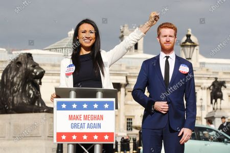Stock Picture of Ahead of the most controversial US Presidential Election ever, bookmaker Ladbrokes launches its 'Making Meghan Great Again' campaign to celebrate the Duchess of Sussex's chances of winning the 2024 US Election. Meghan is priced at 50/1 with the bookmakers to win the 2024 US Election. The celebrity couple were played by look-a-likes of Meghan and Prince Harry outside locations including Planet Hollywood, Parliament Square and Buckingham Palace.