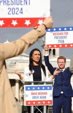Ladbrokes 'Making Meghan Great Again' photocall, London, UK - 25 Oct 2020 에디토리얼 이미지