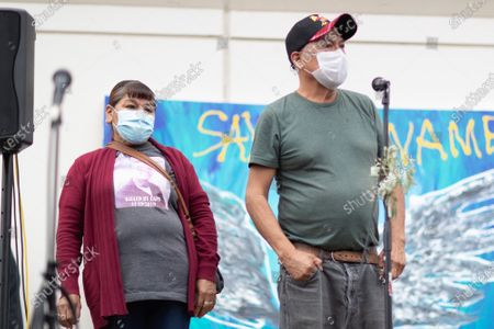 Alejandro Flores, father of Alex Flores speaks to other family members of citizens murdered by Los Angeles law enforcement and protesters during a march and memorial for the 626 lives taken by law enforcement under Jackie Lacey's term as the District Attorney of Los Angeles since December 2012
