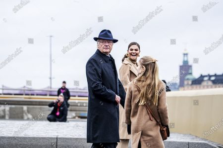 Stock Image of King Carl Gustaf, Crown Princess Victoria, Princess Estelle Inauguration of the golden bridge Slussbron in Stockholm