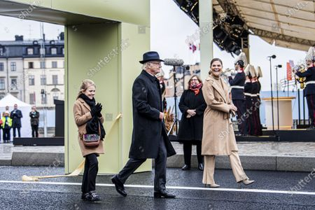 Stock Picture of Princess Estelle, King Carl Gustaf, Crown Princess Victoria Inauguration of the golden bridge Slussbron in Stockholm