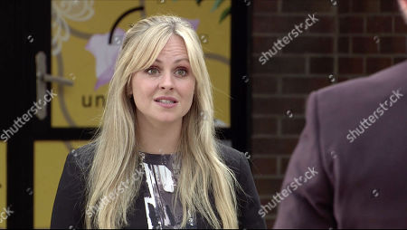 Stock Photo of Coronation Street - Ep 10165 & Ep 10166 Wednesday 11th November 2020 Sarah Platt, as played by Tina O'Brien, catches Adam Barlow chatting up Alina Pop outside the factory and launches a tirade of abuse at him. As Carla Connor approaches with a new client, they find Sarah screeching like a fishwife.