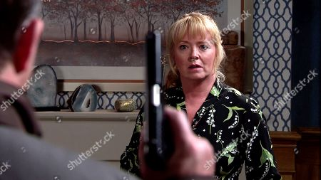 Coronation Street - Ep 10155 & Ep 10156 Friday 30th October 2020 When Jenny Connor, as played by Sally-Ann Matthews, then finds a note from Johnny Connor, explaining he's gone to the police station to tell the truth, she tries to call him but Scott, as played by Tom Roberts, grabs the phone and pointing his gun at her, orders Johnny To return home or he'll shoot his wife!