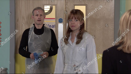 Coronation Street - Ep 10165 & Ep 10166 Wednesday 11th November 2020 Leanne Tilsley, as played by Jane Danson, arrives at the hospital and is furious to find Nick Tilsley, as played by Ben Price, there.