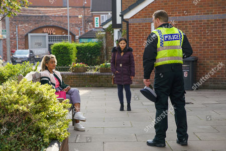 Stock Image of Coronation Street - Ep 10157 Monday 2nd November 2020 - 1st Ep Alina Pop, as played by Ruxandra Porojnicu, urges Emma Brooker, as played by Alexandra Mardell, to get the money back but when a police officer approaches Emma to ask her some questions, is it too late?
