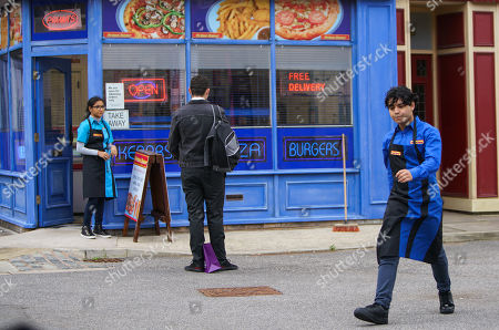 Coronation Street - Ep 10157 Monday 2nd November 2020 - 1st Ep Asha Alahan's, as played by Tanisha Gorey, smitten with Corey, as played by Maximus Evans, while Aadi Alahan, as played by Adam Hussain, is unimpressed. When Corey makes a dig at Aadi over his lack of a girlfriend, Aadi heads off clearly hurt.
