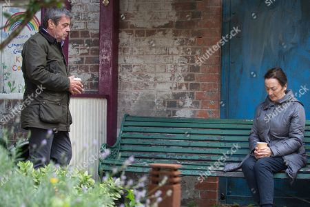 Coronation Street - Ep 10153 Wednesday 28th October 2020 - 1st Ep Margaret, as played by Jane Lowe, reveals that Rob was her son, he survived a terrible robbery many years ago but it ruined his life and he died an alcoholic - Johnny Connor's, as played by Richard Hawley, devastated.