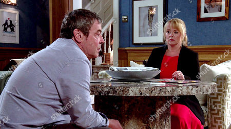 Coronation Street - Ep 10154 Wednesday 28th October 2020 - 2nd Ep Squirming with shame, Johnny Connor, as played by Richard Hawley, reveals his criminal past to Jenny Connor, as played by Sally-Ann Matthews, that he was once the getaway driver in a robbery.