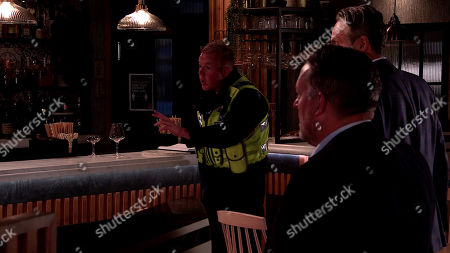 Coronation Street - Ep 10152 Monday 26th October 2020 - 2nd Ep Grabbing the cash, Scott, as played by Tom Roberts, makes a dash for the door but Craig Tinker, as played by Colson Smith, tries to stop him. The gun goes off and Craig slumps to the floor as Scott legs it.