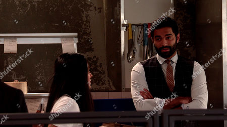 Coronation Street - Ep 10151 Monday 26th October 2020 - 1st Ep When Imran Habeeb, as played by Charlie de Melo, suggests to Alya Nazir, as played by Sair Khan, they might have to sell Yasmeen's house to pay her legal fees, Gary Windass is quick to chip in and offers to put them in touch with a developer.
