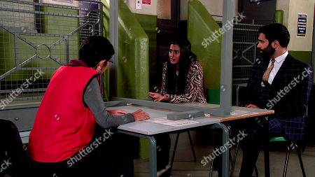 Coronation Street - Ep 10152 Monday 26th October 2020 - 2nd Ep Yasmeen Metcalfe, as played by Shelley King, admits to Alya Nazir, as played by Sair Khan, she signed half the house over to him too. Also pictured Imran Habeeb, as played by Charlie de Melo.