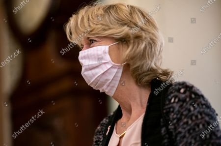 Sen. Lisa Murkowski, R-Alaska, walks to the chamber for a procedural vote prior to final roll call on Amy Coney Barrett to the Supreme Court, at the Capitol in Washington