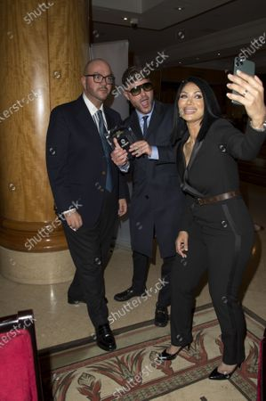 Stock Image of Jonathan Sothcott, Jeanine Nerissa Sothcott, Danny Bear, Virtual awards for SME News, Greater London Enterprise Awards, awards Shogun Films, Best emerging Independent Film Production UK award.