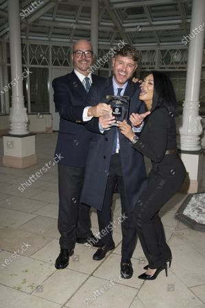 Stock Picture of Jonathan Sothcott, Jeanine Nerissa Sothcott, Danny Bear, Virtual awards for SME News, Greater London Enterprise Awards, awards Shogun Films, Best emerging Independent Film Production UK award.