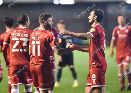 Stock Image of Tyler Frost of Crawley celebrates scoring their fourth goal with Sam Ashford during the League Two match between Crawley Town and Tranmere Rovers at the People's Pension Stadium  , Crawley ,  UK - 27th October 2020