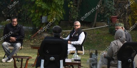 National Conference President and Member of Parliament Farooq Abdullah, Former chief minister Omar Abdullah and People's Conference chairman Sajad Gani Lone at the residence of Peoples Democratic Party (PDP) president and former chief minister Mehbooba Mufti during a meeting, on October 24, 2020 in Srinagar, India.