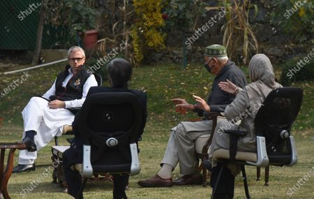 National Conference President and Member of Parliament Farooq Abdullah and Former chief minister Omar Abdullah at the residence of Peoples Democratic Party (PDP) president and former chief minister Mehbooba Mufti during a meeting, on October 24, 2020 in Srinagar, India.