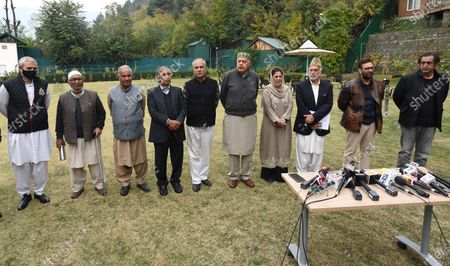 National Conference President and Member of Parliament Farooq Abdullah, Former chief minister Omar Abdullah, People's Conference chairman Sajad Gani Lone and others at the residence of Peoples Democratic Party (PDP) president and former chief minister Mehbooba Mufti during a meeting, on October 24, 2020 in Srinagar, India.