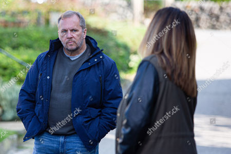 Emmerdale - Ep 8887 Thursday 12th November 2020 Harriet Finch, as played by Katherine Dow Blyton, tells Will Taylor, as played by Dean Andrews, that she's let Laurel know that their wedding's been called off and has lied it's due to money issues, but Will is cold.