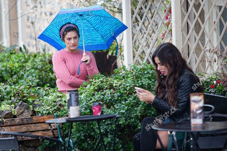 Emmerdale - Ep 8886 Wednesday 11th November 2020 Meena, as played by Paige Sandhu, left furious when she later gets a text from David, cancelling their lunch. Also pictured Victoria Sugden, as played by Isabel Hodgins.