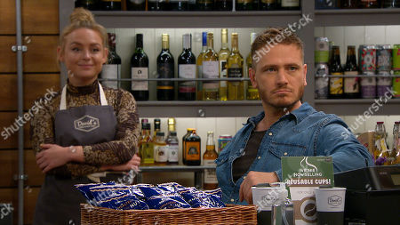 Emmerdale - Ep 8884 Tuesday 10th November 2020 Amy Wyatt, as played by Natalie Ann Jamieson, tells a surprised David Metcalfe, as played by Matthew Wolfenden, that Meena fancies him.