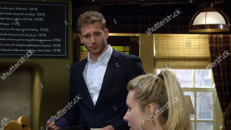 Emmerdale - Ep 8877 Monday 2nd November 2020 Jamie Tate, as played by Alexander Lincoln, and Will Taylor's feud escalates when Jamie docks Dawn Taylor's, as played by Olivia Bromley, wages.