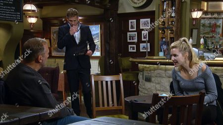 Emmerdale - Ep 8877 Monday 2nd November 2020 Jamie Tate, as played by Alexander Lincoln, and Will Taylor's, as played by Dean Andrews, feud escalates when Jamie docks Dawn Taylor's, as played by Olivia Bromley, wages.