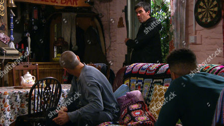 Emmerdale - Ep 8878 Tuesday 3rd November 2020 Charity Dingle is full of self loathing and turns to the bottle to hide her upset, as Sam Dingle, as played by James Hooton, and Cain Dingle, as played by Jeff Hordley, visit her.