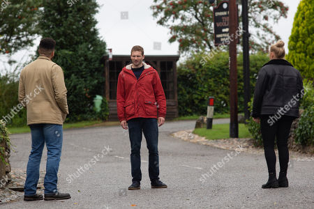 Emmerdale - Ep 8872 Tuesday 27th October 2020 Jamie Tate, as played by Alexander Lincoln, is shocked when Tracy Metcalfe, as played by Amy Walsh, confesses to slashing his tyres but Nate Robinson, as played by Jurell Carter, reminds him that he has no way to prove it.