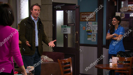 Stock Image of Emmerdale - Ep 8871 Monday 26th October 2020 When Meena, as played by Paige Sandhu, mentions the flowers and shows Leyla Harding, as played by Rokhsaneh Ghawam-Shahidi, the card addressed from Liam Cavanagh, as played by Jonny McPherson, Leyla's horrified.
