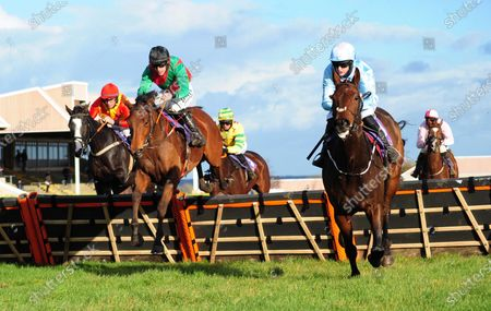 Wexford BUCK ROGERS & Brian Hayes (left) jump the last to win the Michael Moore Car Sales Maiden Hurdle from ALLBARONE & Rachael Blackmore (right).