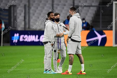 (L-R) Raheem Stirling of Manchester City, Bernardo Silva of Manchester City and Ederson Moraes of Manchester City take a stroll on the pitch before the match.