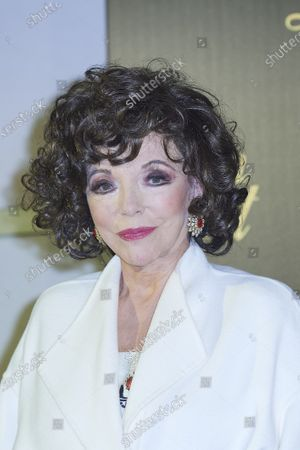 Dame Joan Collins attends 'Glow and Darkness' photocall at Palace Hotel on October 26, 2020 in Madrid, Spain
